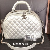 CHANEL Hand Chain Shoulder Bag Silver Woman Caviar Skin Auth Rare w Guar... - $4,307.20