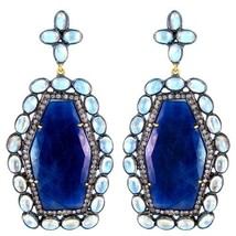 Sterling Silver Pave Diamond 14k Gold Moonstone/Sapphire HEXAGON Dangle Earrings - $1,528.31
