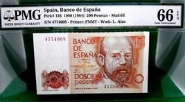 MONEY SPAIN 200 PESETAS 1980 (1984) BANCO DE ESPANA GEM UNC PICK # 156  - $216.00