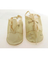 Vintage Oilcloth Off White Tie Shoes For Medium Baby Doll - $32.99
