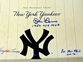 DON LARSEN LEE MACPHAIL V TRUCKS NEW YORK YANKEES 100 YEARS SIGNED AUTO ... - $118.79