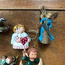 Estate Lot of Small Plastic & Carved Resin ANGEL Christmas Tree Ornaments – one  image 4