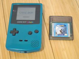 Nintendo Game Boy Color Teal Blue CGB-001 Handheld Game System With Game - $37.39