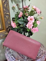 Coach Legacy Wallet Crossgrain Leather Zip Around Accordion Loganberry P... - $48.37
