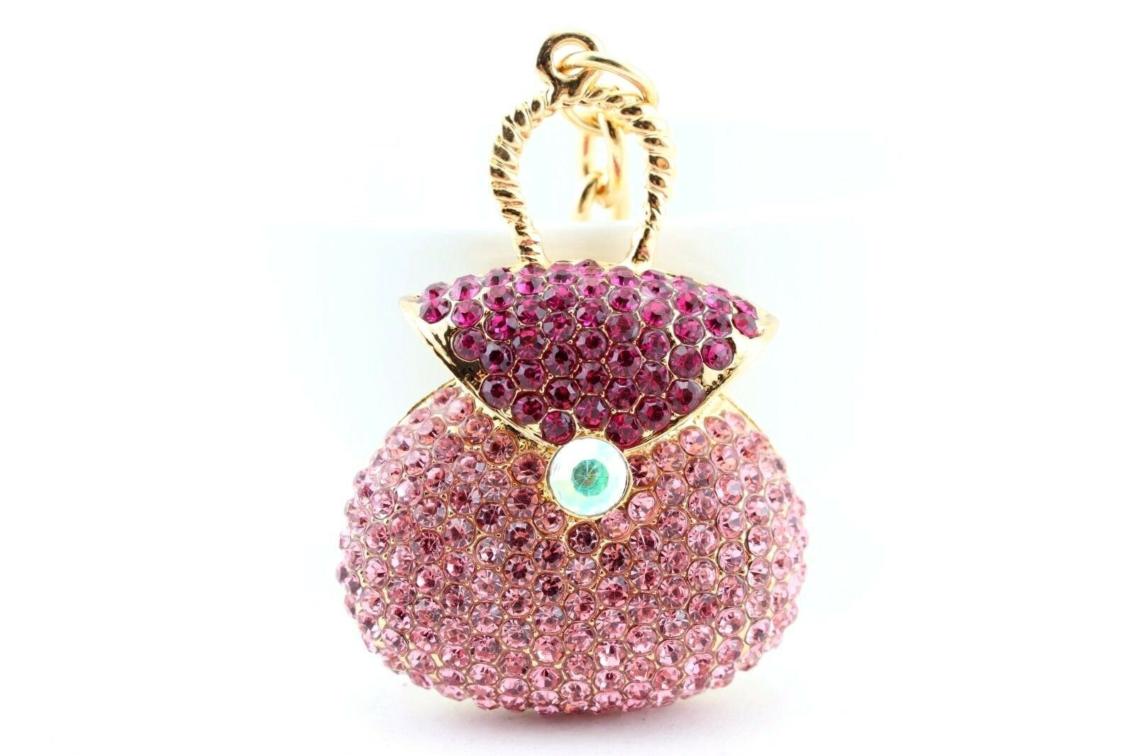 Primary image for Pink Purse Bag Fashion Keychain Crystal Charm Gift Cute Pouch Collectible #MCK11