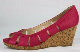 Nine West Jumbalia women's pink leather open toe cork wedge pump size 10.5M - $25.03