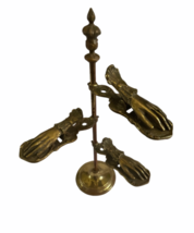 """Antique Desk Brass Victorian Hand Stand Letter Note Photo Recipe Holder 15"""" tall image 2"""