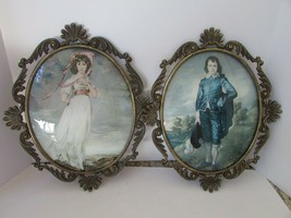 VTG PAIR OF ITALIAN OVAL ORNATE PICTURE FRAMES CONVEX GLASS PINKIE & BLU... - €31,35 EUR