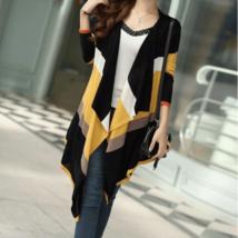 Casual Long Sleeve Stripes Women Cardigan - $27.26