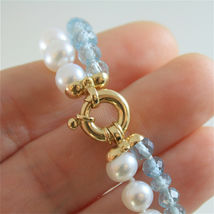 18K YELLOW GOLD BRACELET WITH 2 STRANDS PEARLS AND AQUAMARINE 7 IN MADE IN ITALY image 5