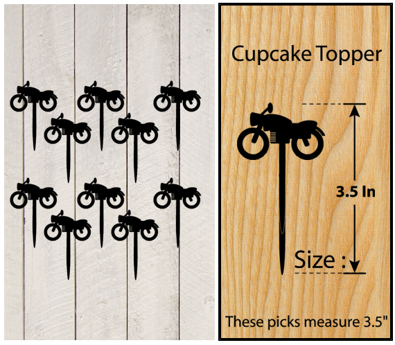 Ca140 Decorations Cake topper,Cupcake topper, motorcycle classic : 11 pcs