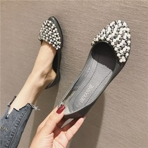 Sequin Gray Pearls Ballet Flats Slippers Shoes Grey Evening Party Weddin... - £31.79 GBP