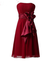 Girls Party Dress, Burgundy Chiffon Short Prom Dress, Mini Cocktail Gown... - $60.00