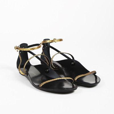 6ccfbaa265b Lanvin Black Gold Snakeskin Sandals SZ 39 and 50 similar items