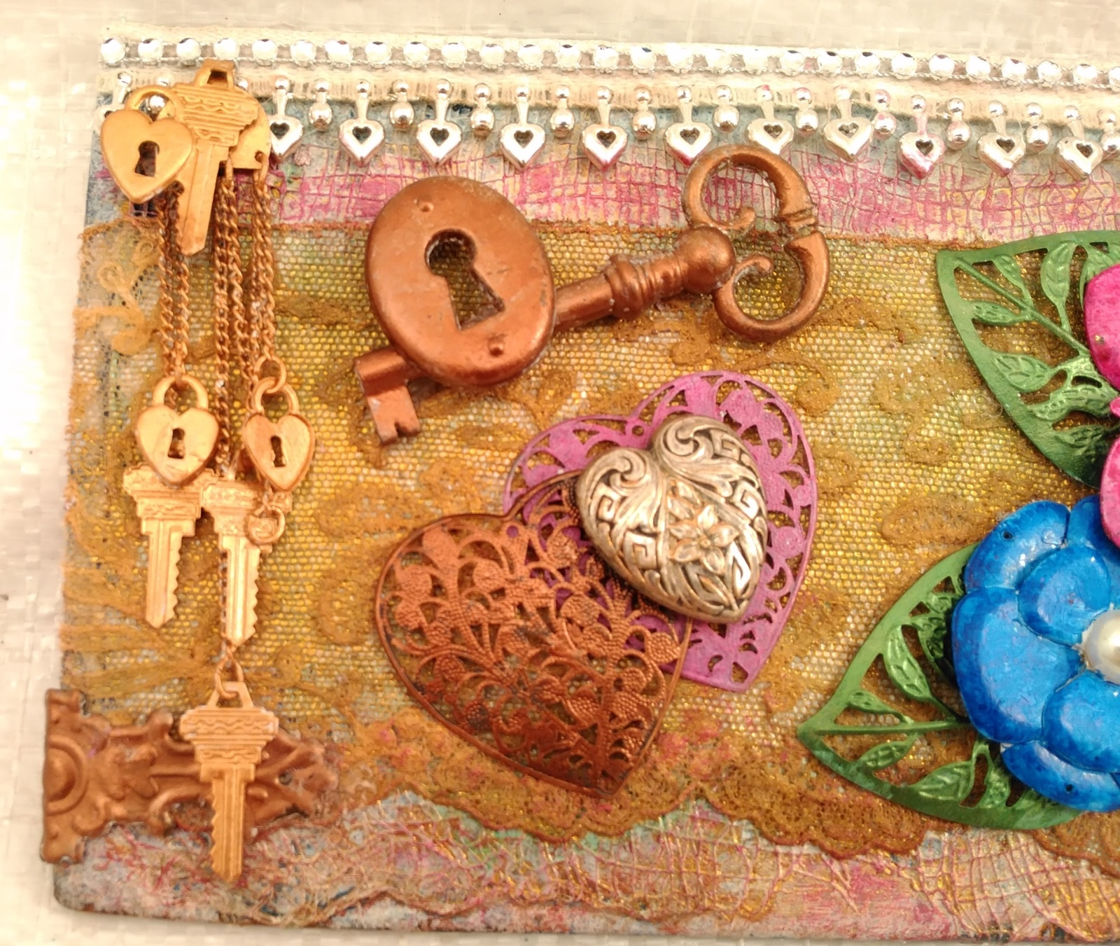 """Mixed media assemblage on board """"Reminisce"""" by Deboriah 12x5"""