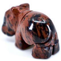 Mahogany Obsidian Gemstone Tiny Miniature Hippo Figurine Hand Carved in China image 3