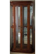 Great Vintage Solid Wood & Glass Curio - Cherry Wood Finish - GORGEOUS -... - $890.99