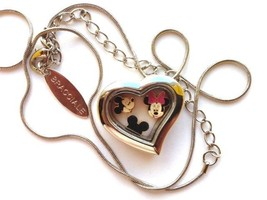 Bracciale Disney Heart Locket Silver Necklace W Floating Mickey Mouse Charms - $24.74