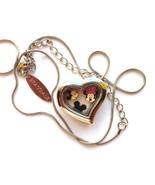 BRACCIALE DISNEY HEART LOCKET SILVER NECKLACE W FLOATING MICKEY MOUSE CH... - $24.74