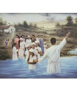 Rare Signed R. Williams - Baptism - African American Art - Lithograph on... - $238.41