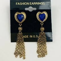 Vintage Blue Rhinestone Heart Dangle Fringe Tassel Pierced Earrings Gold... - $11.84