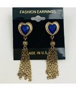 Vintage Blue Rhinestone Heart Dangle Fringe Tassel Pierced Earrings Gold... - £9.50 GBP