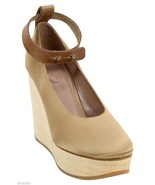 CHLOE Platform Wedge Champagne Satin Wooden Heel Mary Jane Shoes 38 $900 - $237.50