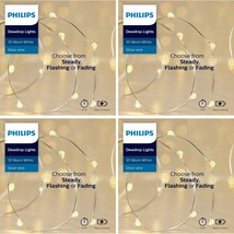 4x Philips 30ct Christmas LED Dewdrop Lights 4 Function Battery Operated White J image 1