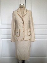 St. John Collection Knit Cream Gold Tweed Jacket and Skirt Suit with Sat... - $143.55