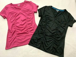Skechers M Pink Gray Black Blue Stripe Athletic Shirt Lot Ruched Front - $19.99