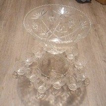 Vintage glass Punch Bowl Laddle & 12 Cup Set Party  - $128.70