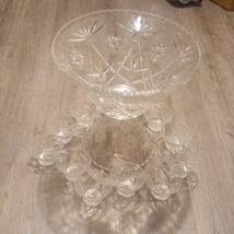 Vintage glass Punch Bowl Laddle & 12 Cup Set Party  - $128.70