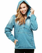 Women's Cotton Casual Hoodie Half Zip Pullover Denim Light Blue Jean Jacket XL image 3