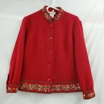 Talbots Petites Beaded Wool Button Mandarin Collar Red Jacket Sz M EUC 0288 - $25.05