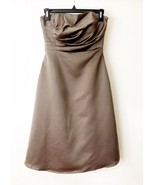Strapless Gown Cocktail Dress Size 6 Brown Ruched Bust Built In Bra Nigh... - $43.56
