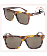 GUCCI 0347 Havana Brown Square Gold Star Classic Luxury Sunglasses GG0347 Unisex - $266.31