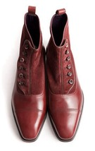 Handmade Men's Maroon Leather And Suede Buttons Boots image 5