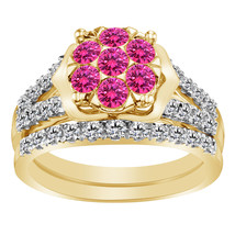 1.60 Ct Pink Sapphire & Clear Diamond 9k Yellow Gold FN 925 Engagement Ring Set - $109.99