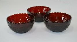 "3 Anchor Hocking Sandwich Glass Royal Ruby Salad Bowls 5 1/4"" Scalloped - $59.40"