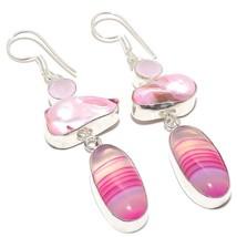 "Pink Lace Agate, Biwa Pearl Jewelry Earring 2.8"" RJ3910 - $6.99"