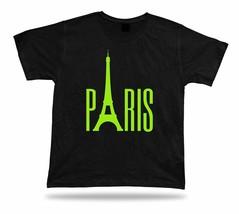 Neon night Light Paris Shirt with Eiffel Tower symbol of France Graphic souvenir - $7.57