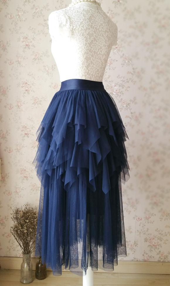 NAVY Full Tulle Prom Skirts Long Prom Skirt Elastic Waist Evening Skirts