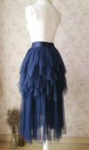 NAVY Full Tulle Prom Skirts Long Prom Skirt Elastic Waist Evening Skirts image 5