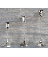 Set of Three Sheffield Silverplate Candlestick Holders / Art Deco Style ... - $30.00