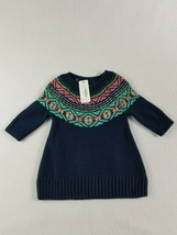 Gymboree Baby Girl Knit Sweater Dress Size 0-3 Months Navy Yarn Embroide... - $13.50