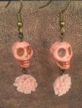 Stone Skull with Resin Flowers Earrings - $12.50