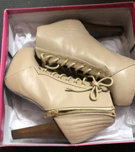 Qupid Lace-up Platform Ankle Bootie Zipper Closure Qupuffin-70 Taupe Size 6 - $38.61