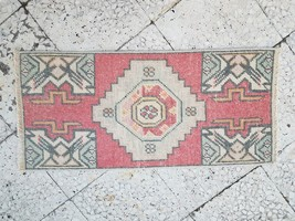 Early 20th Century Turkish Accent Rug, Hand Knotted Faded Mat 1'4'' X 2'9'' - $111.87