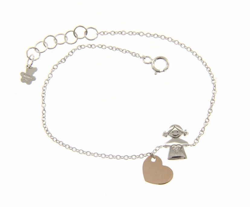 18 KT WHITE AND ROSE GOLD BRACELET FOR KIDS WITH CHILD GIRL HEART MADE IN ITALY