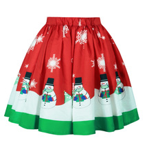 Elastic High Waist Midi Party Skirt Christmas Santa Print A-line Swing Skirt-red